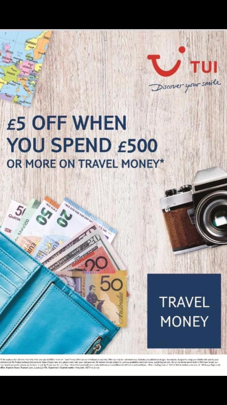 Get £5 off when you spend £500 or more on travel money